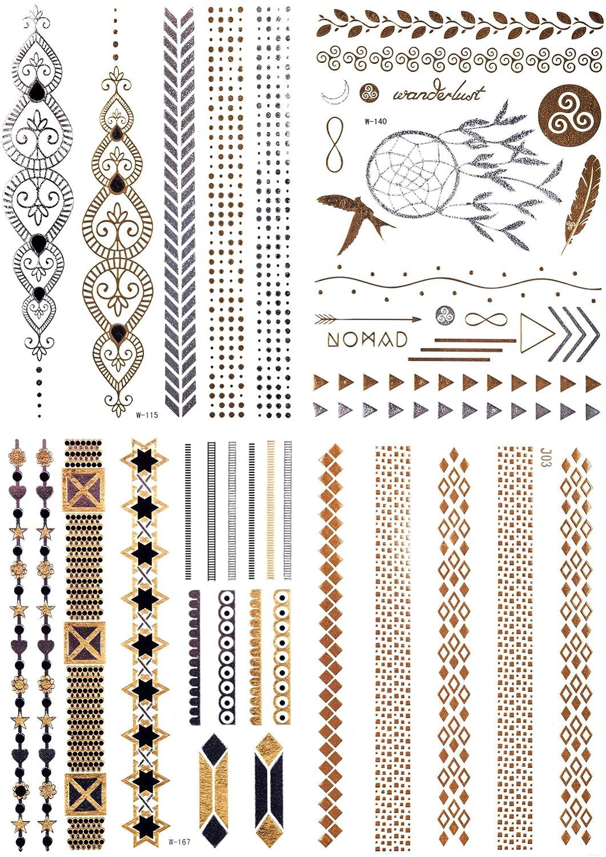 4 x flash Tatuajes Oro Plata temporary Tattoo pulseras anillos ...