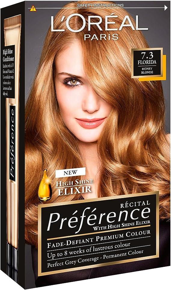 3 xl oreal paris Recital Preference permanente color 7.3 Florida Honey Blonde