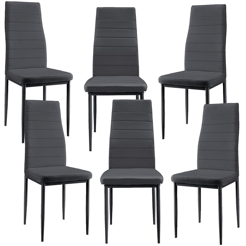 [en.casa] 6 x Esszimmerstuhl (dunkelgrau) mit Hochwertigem Kunstlederpolster für Esszimmer Wohnzimmer   Küche - Set
