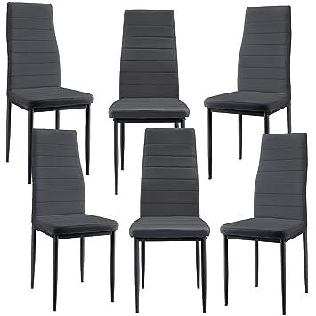 [en.casa]®] 6 x sillas de Comedor (Gris Oscuro) tapizadas de Cuero sintético Set de sillas de Cocina