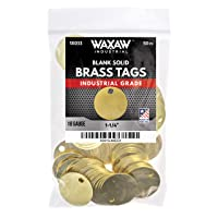 """1.25"""" Solid Brass Stamping Tags (50 Pack) Industrial Grade 0.040"""" Blank Chits for Pipe Valves, Keys, Tool and Equipment Labeling   Made in USA"""
