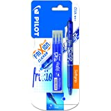 Pilot Frixion Ball Etui de 1 Roller Retractable + 1 Set de 3 recharges Encre Gel Thermosensible Pointe Moyenne Bleu