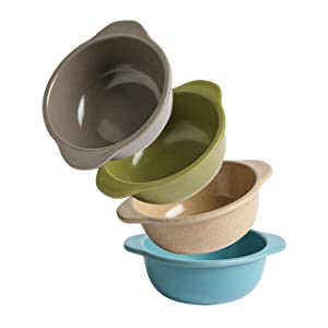PandaEar Safe Stackable (4 Pack) Authentic Bamboo Baby Toddler Bowls Dinnerware, Non-Toxic Top Rack Dishwasher Safe, Eco-Friendly BPA Free(Neutral)
