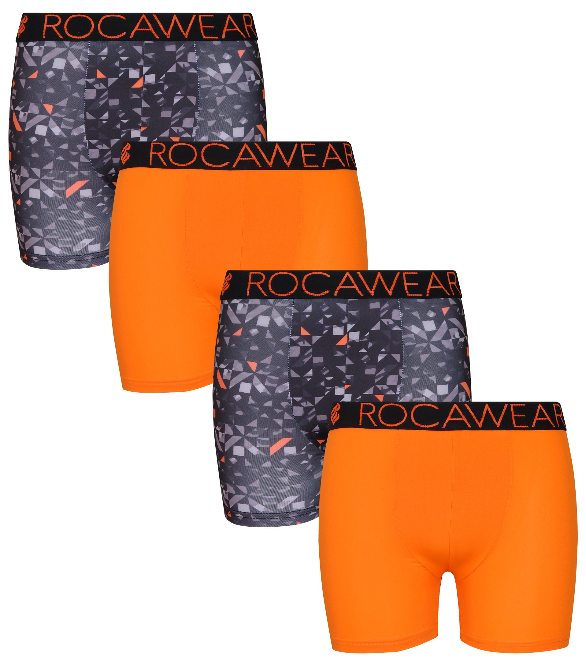 Rocawear Boy's 4 Pack Performance Boxer Brief, Camo and Orange, Small/7-8'