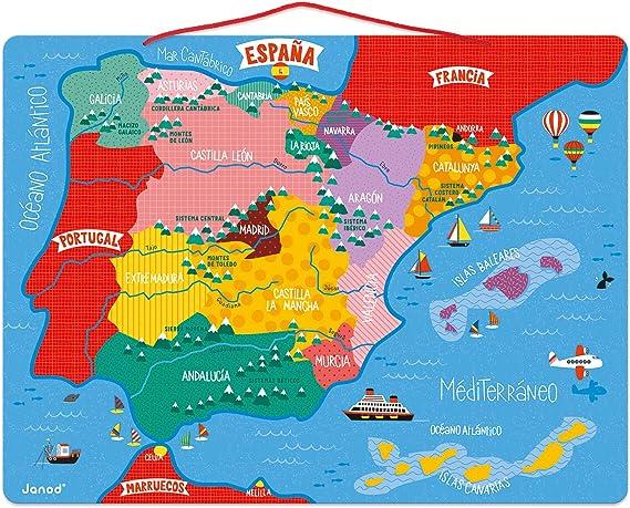 Janod - Puzzle magnético Mapa de España en madera, 50 piezas magnéticas, 40 x 30 cm, Juego educativo a partir de 5 años, J05478: Amazon.es: Juguetes y juegos