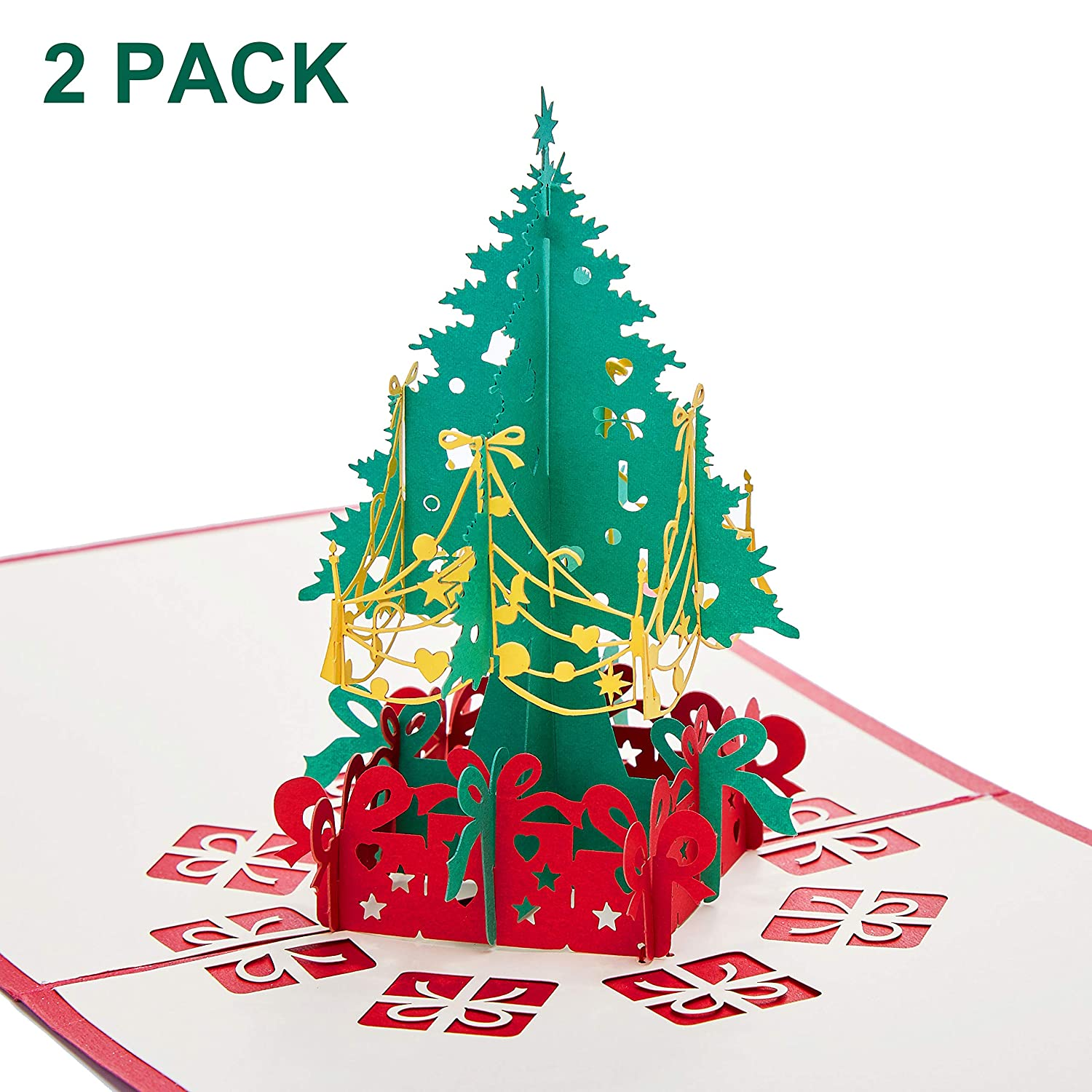 Macting 3d Pop Up Christmas Cards Xmas Tree With Envelope Gift For