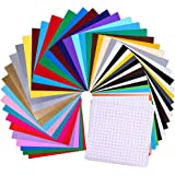 """Prime Vinyl Permanent Self Adhesive Vinyl Sheets, 12"""" x 12"""" 55 Pack, 45 Assorted Colors Pack with 10 Transfer Tape Sheets, Includes Bonus Squeegee, Premium Vinyl for Cricut, Silhouette Cameo"""