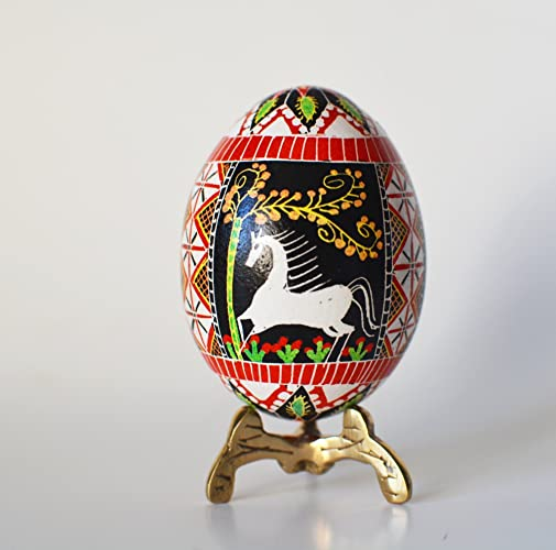 Ornament with horses Christmas Pysanka chicken egg hand painted Ukrainian Easter ornament