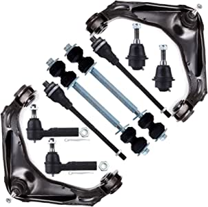 SCITOO 12pcs Suspension Kit Front Control Arm Ball Joint Sway Bar Tie Rod Links Pitman Idler Arms fit 2001-2004 GMC Sierra 2500