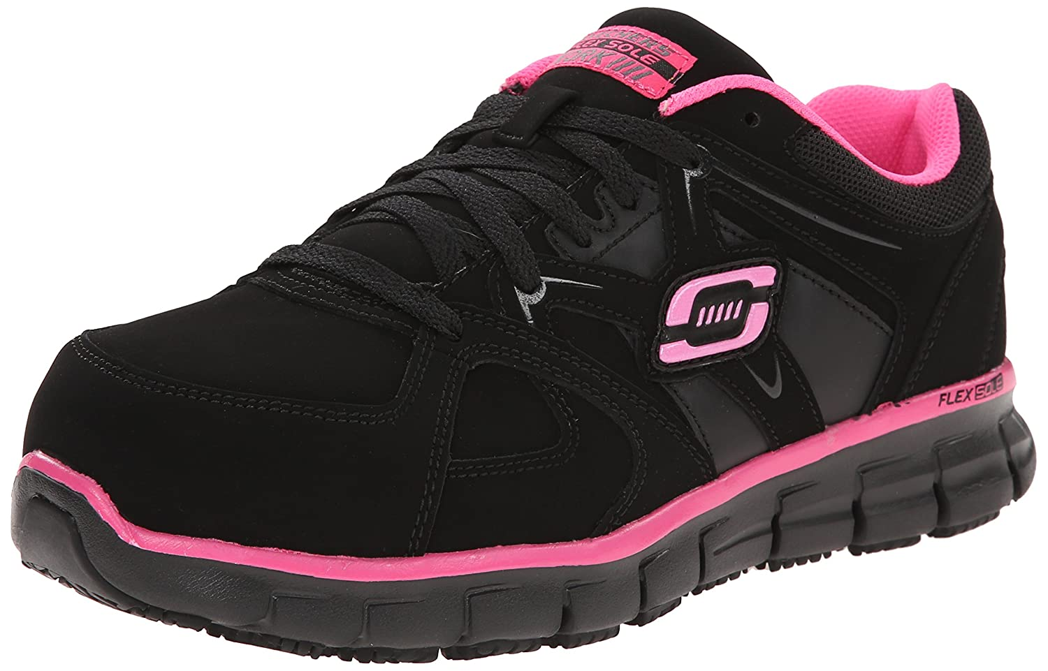 Black Pink Skechers for Work Women's 76553 Synergy Sandlot Steel Toe Lace-Up Work shoes