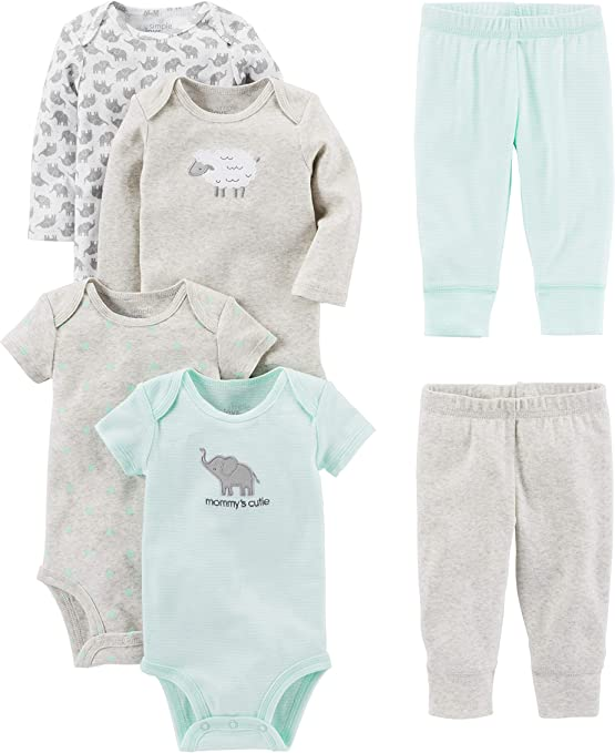Short and Long Sleeve Simple Joys by Carters Baby 6-Piece Neutral Bodysuits and Leggings Set