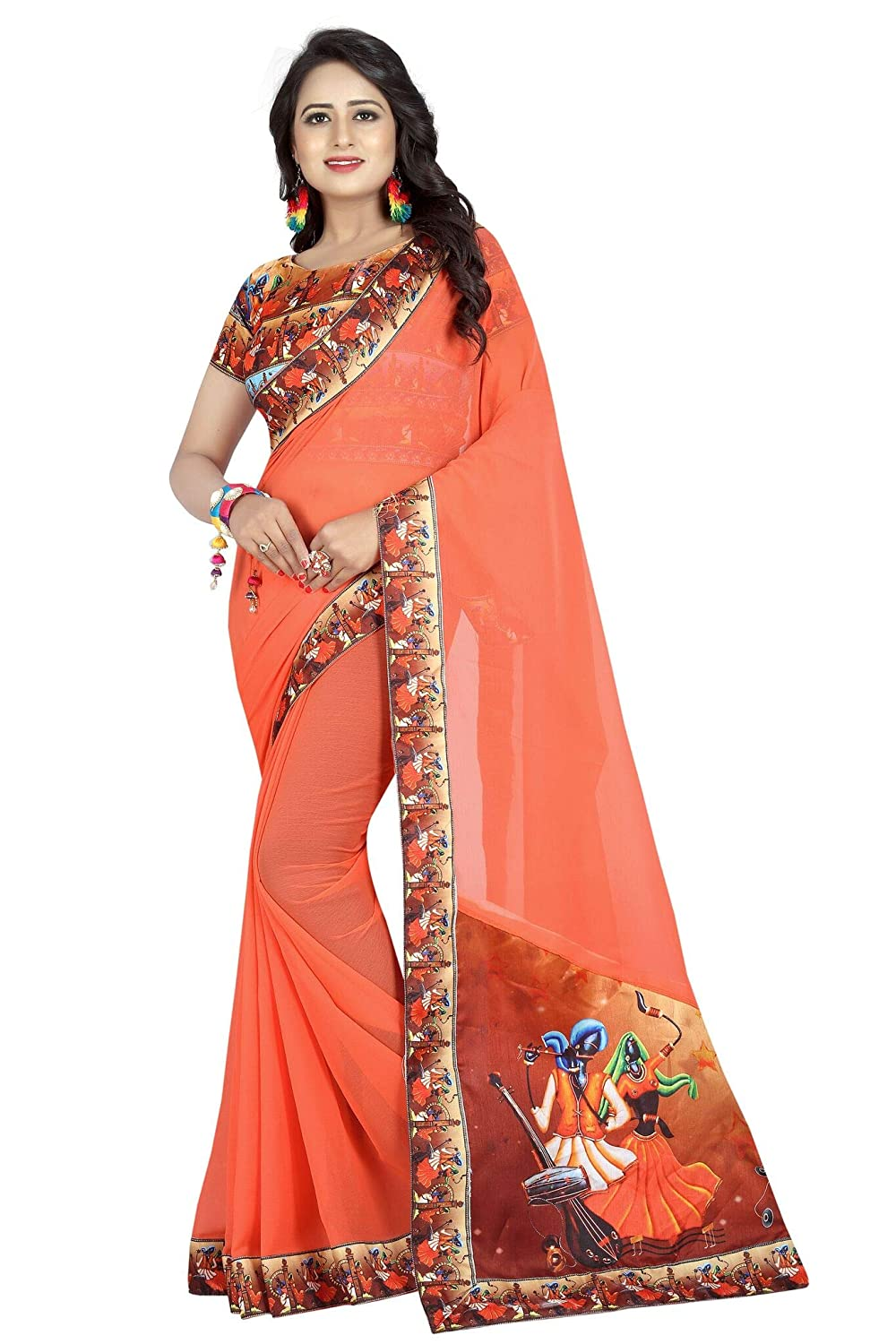 Shonaya Womens Fancy Chiffon Lace Border Saree Unstitched Blouse Piece (Orange) RUKMANI-7