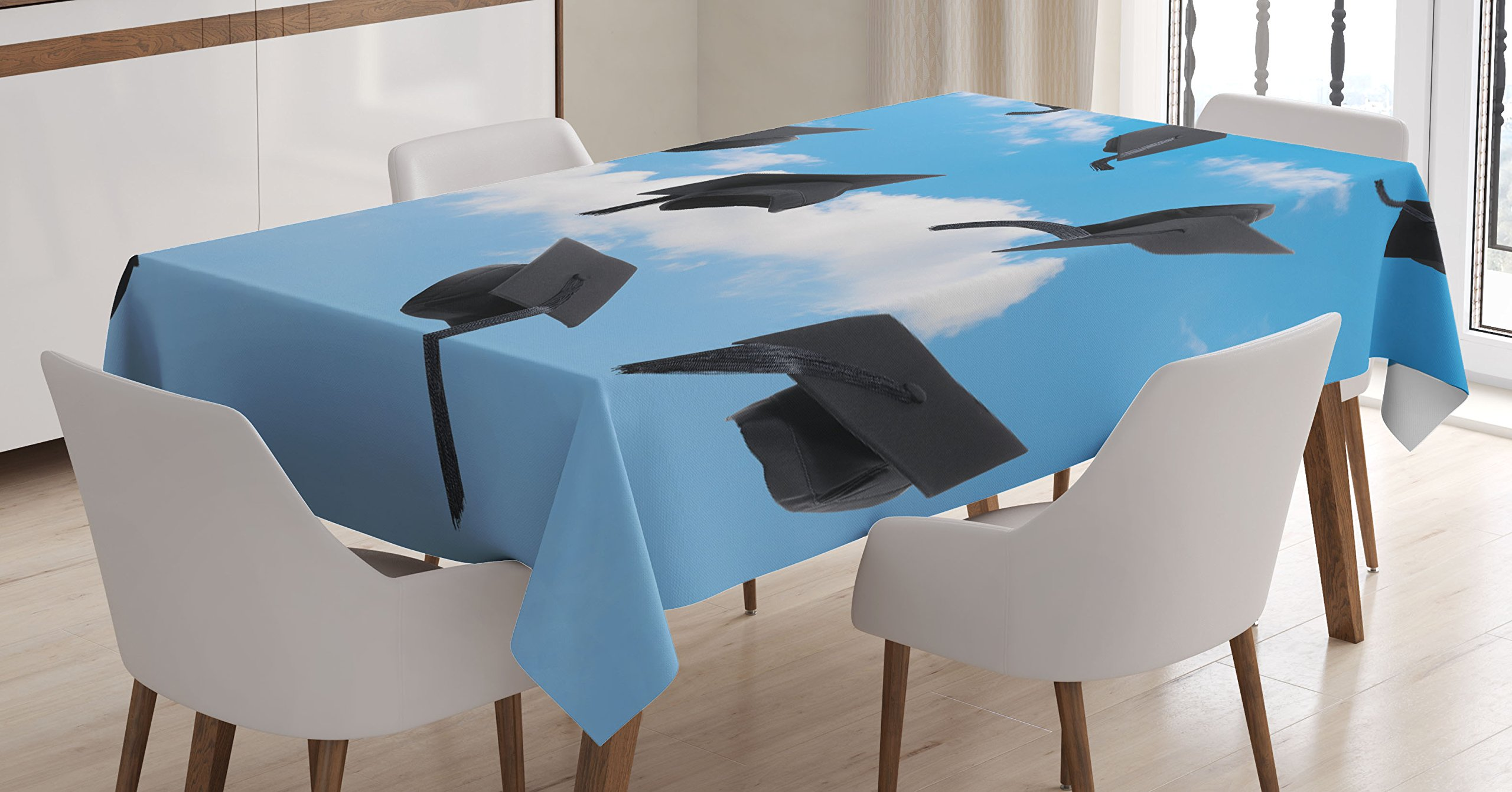 Ambesonne Graduation Tablecloth, Caps Thrown into Sky Last of The School Highschool College Ceremony Picture, Dining Room Kitchen Rectangular Table Cover, 60W X 90L inches, Blue Black