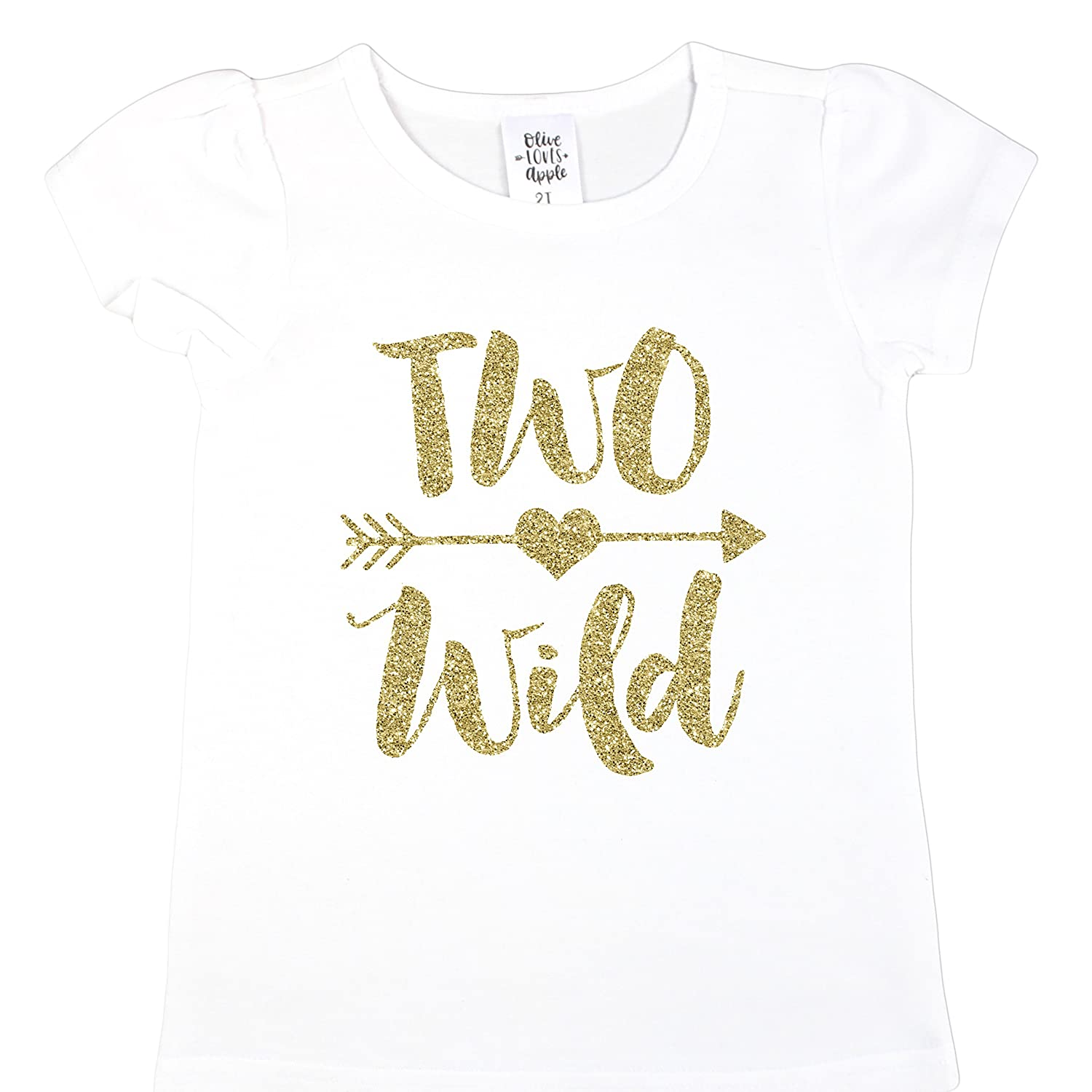 Amazon Olive Loves Apple Two Wild 2nd Birthday Shirt Girl Glitter Gold Outfit For Toddler Girls Clothing