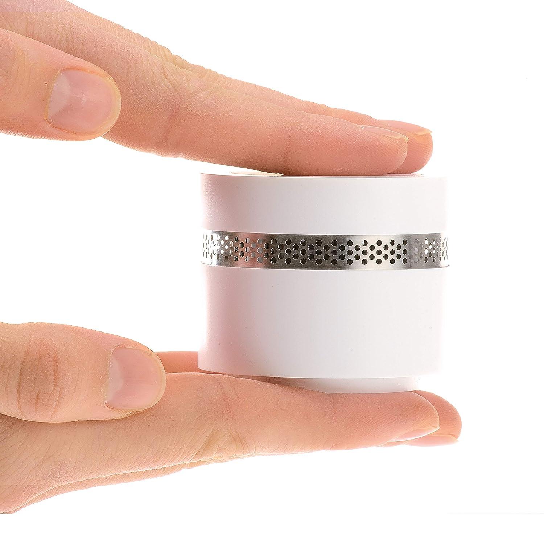 MINI DETECTOR DE HUMO Fumo | Alarma de incendio de diseño casero extra pequeña de 4smile | Detector de humo para prevención de incendios con batería de 10 años | Blanco