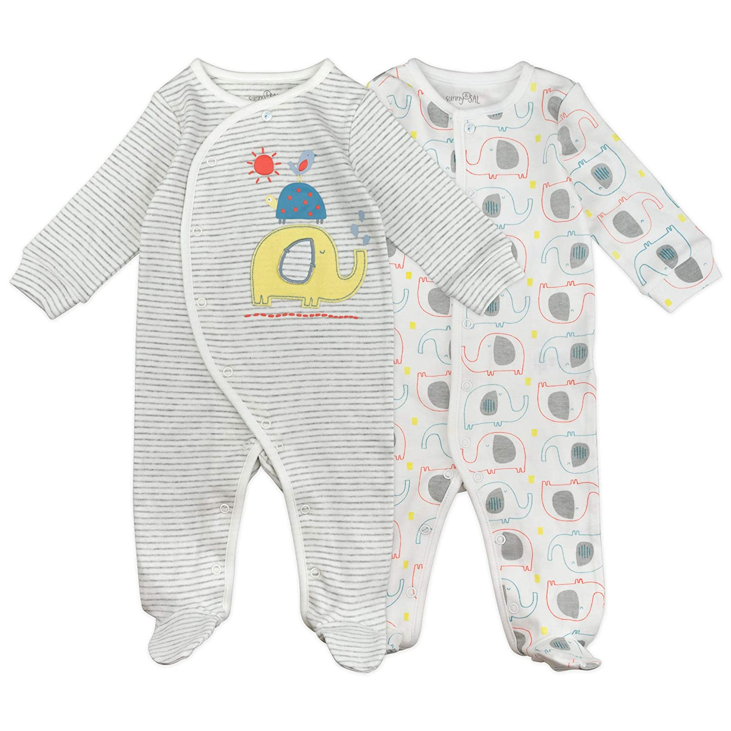 1ec8feba5 Amazon.com: Baby Boy or Baby Girl Sleeper Set, 2-Pack Footed Sleep and Play  Pajamas: Clothing