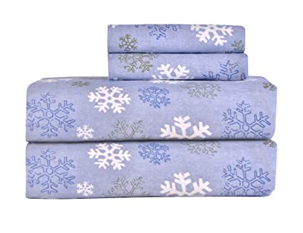 Pointehaven Heavy Weight Printed Flannel 100-Percent Cotton Sheet Set, Snow Flakes, Full best full-sized flannel sheets