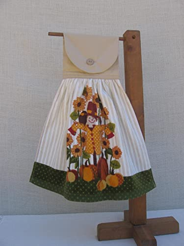 scarecrow hanging kitchen hand towel pumpkin patch fall harvest towel - Kitchen Hand Towels