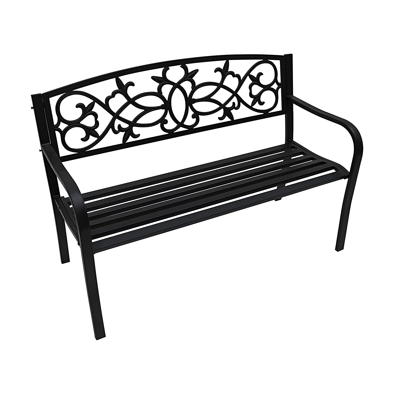 Oypla 2 Seater Black Metal Outdoor Garden Bench Seat Patio Park Chair