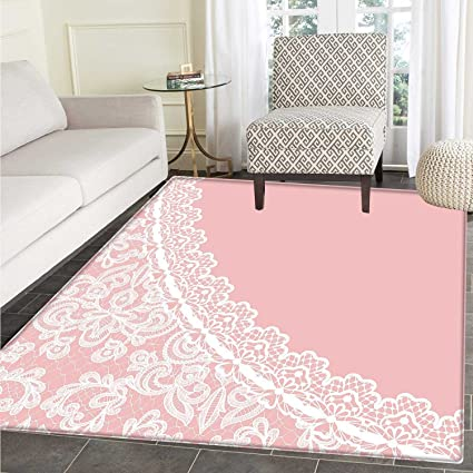 Pink And White Rugs For Bedroom Lace Old Fashioned Border On Pink Color  Wedding Theme Feminine
