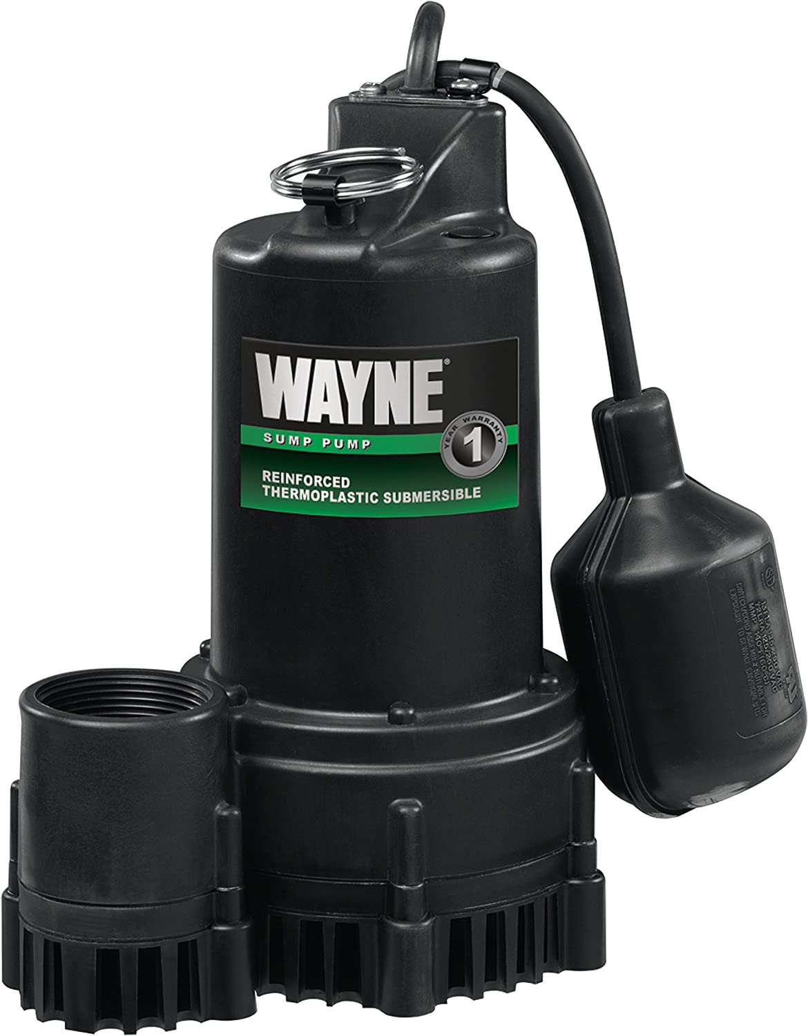 Wayne RSP130 Submersible Sump Pump With Piggy Back Tether Float Switch, 1, port