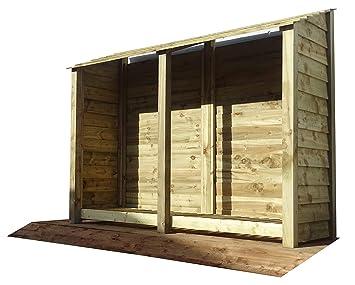 De madera extra grande doble bahía pino Log Store – 6 ft – Luz Verde –