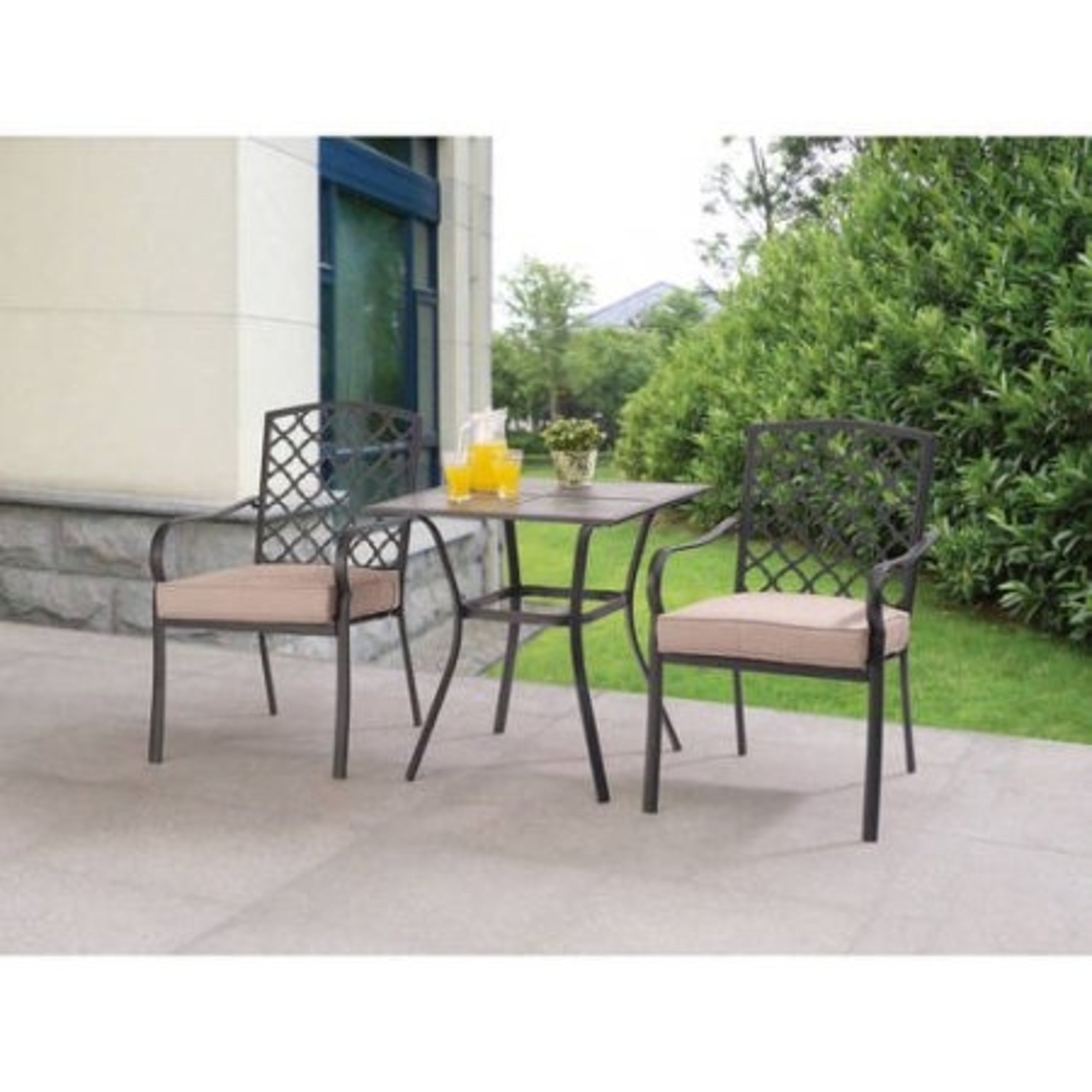Ceramic Tile Tabletop Comfortable Ventilated Seating 3pc Tan Bistro Set
