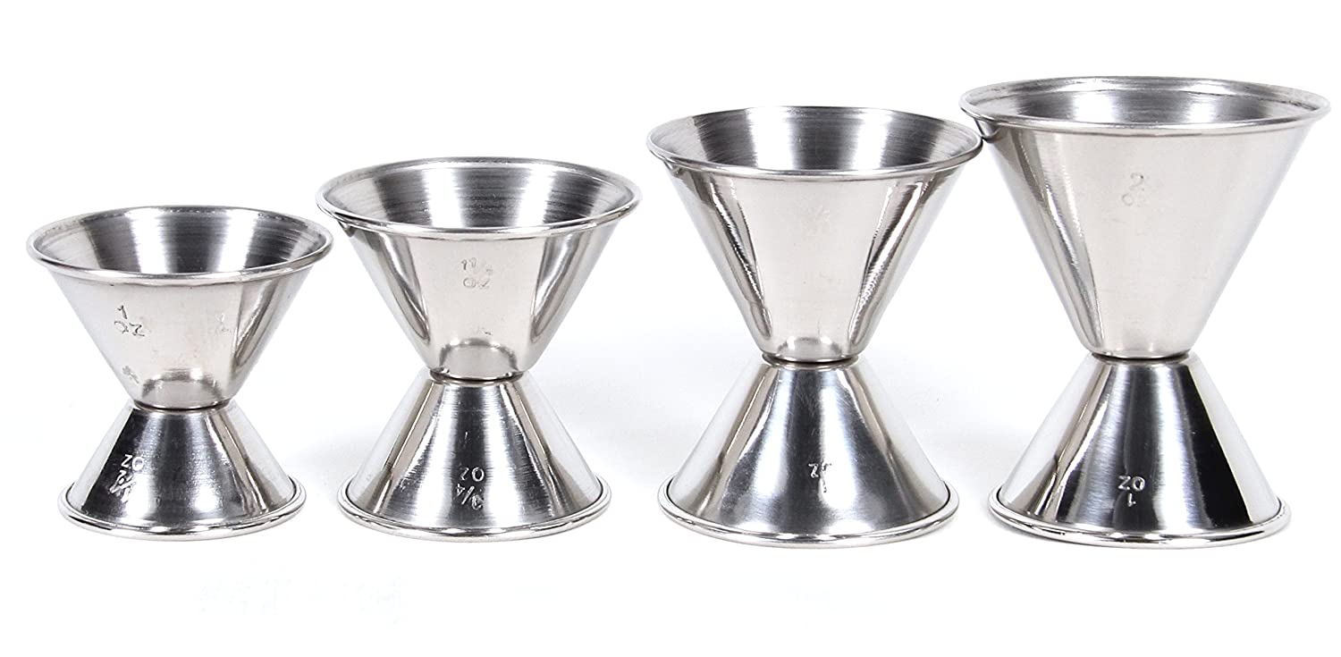CucinaPrime Cocktail Jigger Set, Stainless Steel, Set of 4 2DAYSHIP-JIGGERSET