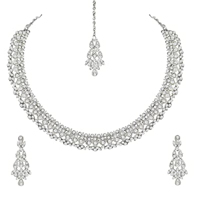 Buy Atasi International Diamond Designer Necklace Jewellery Set