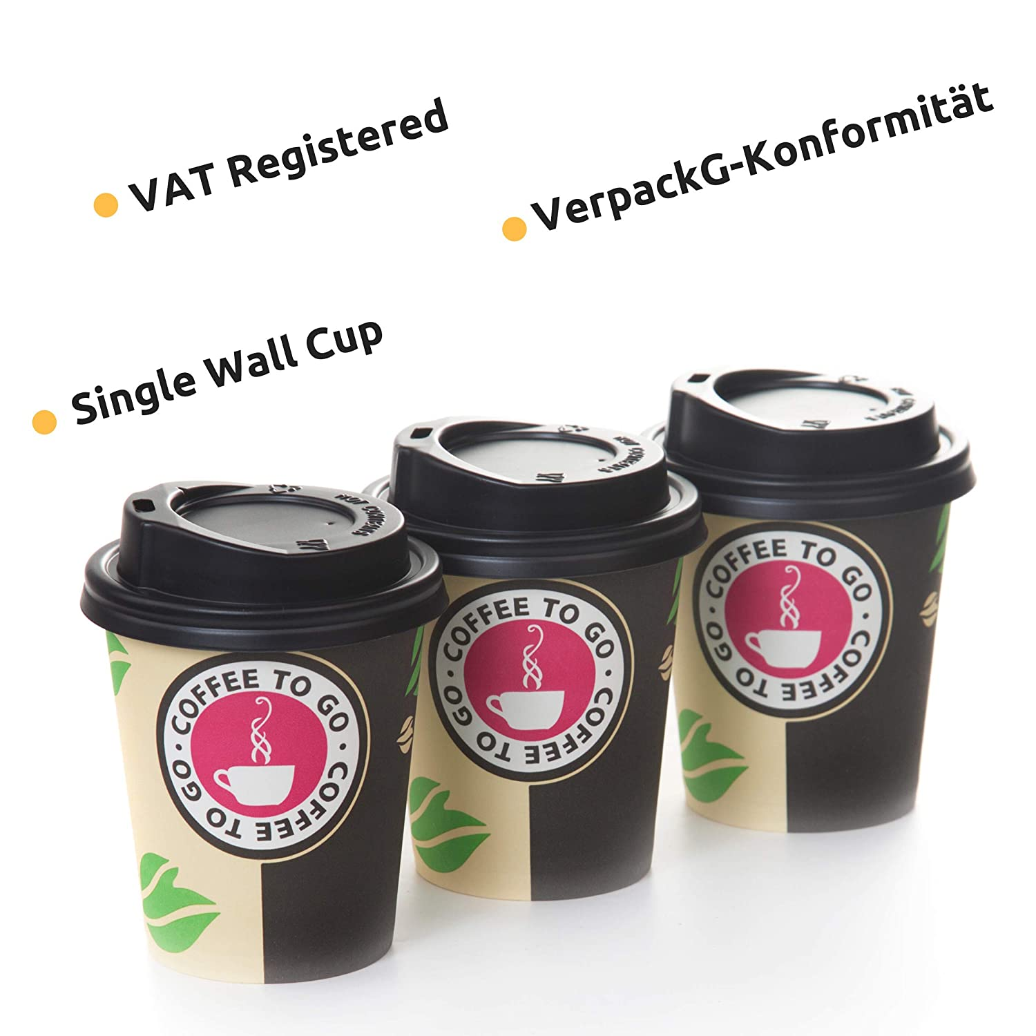 80 Cups+Lids 8 Oz Classic Coffee to Go Cups