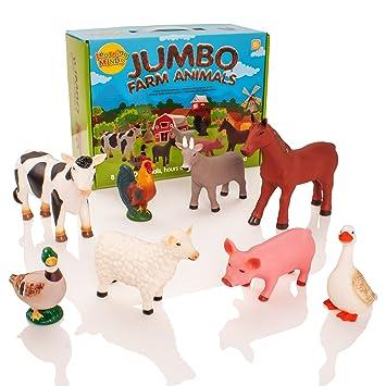 Minds Jumbo D'esprit Ensemble Mois Learning De D'animaux D'apprentissage 8 Figurines 18 Ferme WH29EYDeI
