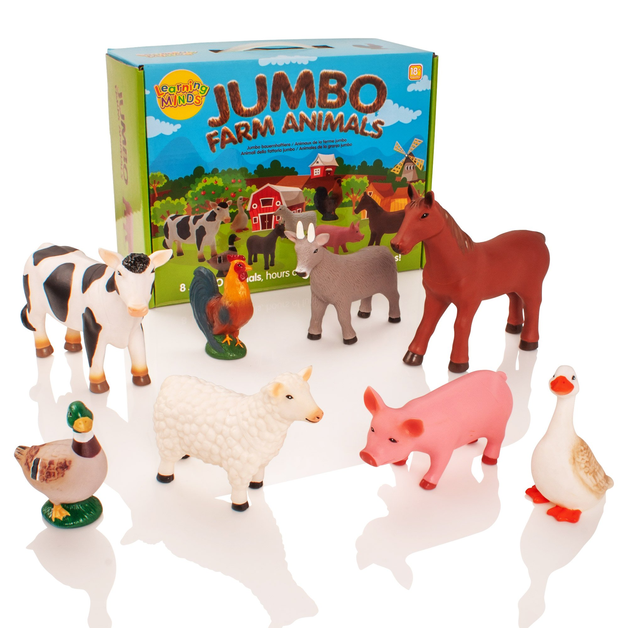 Learning Minds Conjunto de 8 Figuras Jumbo Farm Animal - 18 Meses + product image