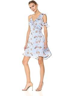 b2d3c9e7f4 ASTR the label Women s Josie One Shoulder Ruffle Floral Satin Short Wrap  Dress