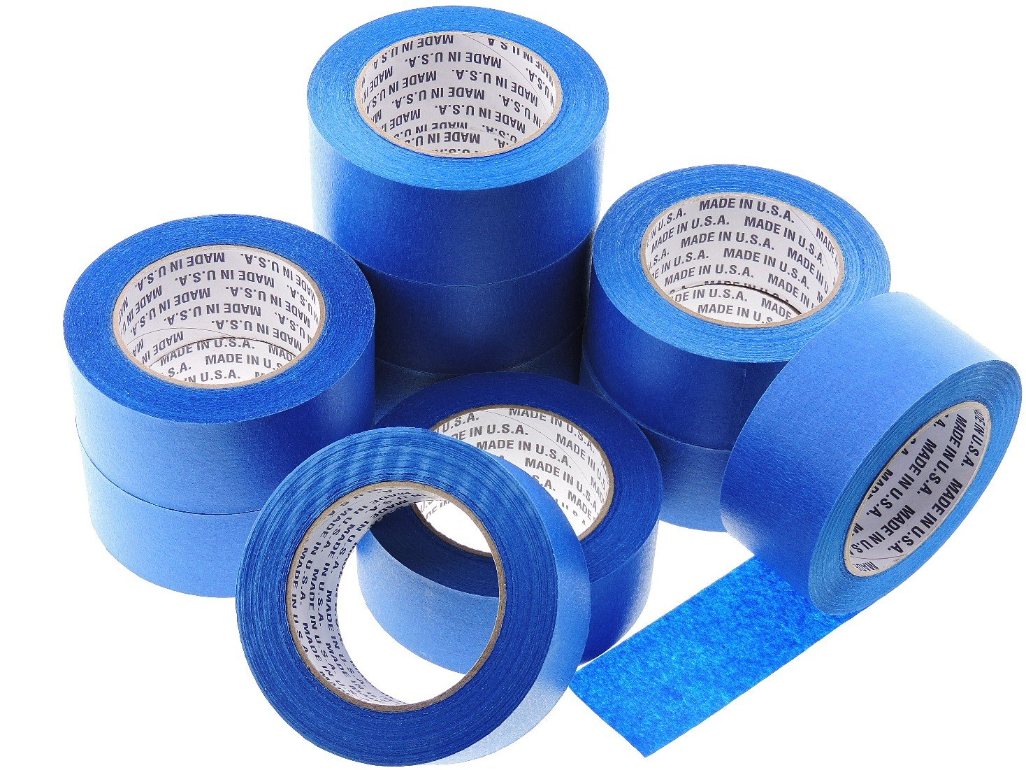 10 Rolls Premium 2'' in x 60 yd USA PRO Grade Professional Blue Painters Tape Masking Trim Edge Quick Clean Release Easy Removal NO RESIDUE (48MM x 55M 1.9 inch)