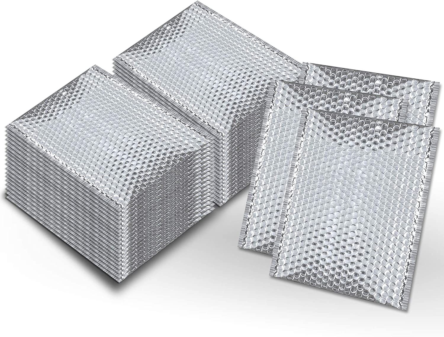Pack of 50 Thermal Insulated Bubble Mailers 12x17 Food grade Padded envelopes 12 x 17 by Amiff. Silver cushion envelopes. Peel and Seal. Metallic foil. Mailing, shipping, packing, packaging.