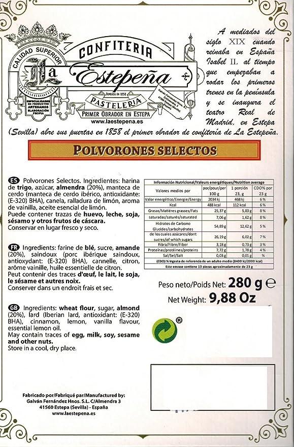 Polvorones Selectos - La Estepeña - 280 Gr: Amazon.es: Alimentación y bebidas