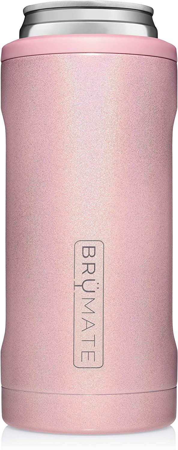 BrüMate Hopsulator Slim Double-walled Stainless Steel Insulated Can Cooler for 12 Oz Slim Cans (Glitter Blush)