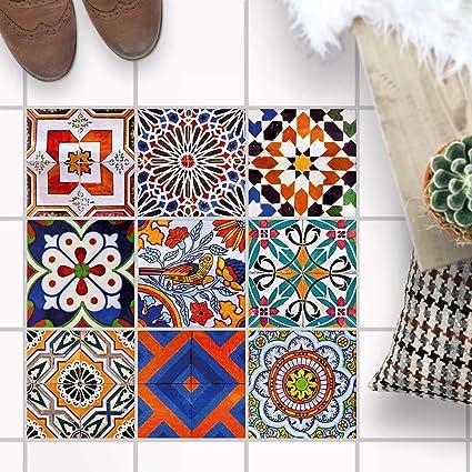 Mosaikfliesen für - [ Boden Fliesen ] - Aufkleber Folie Sticker für  Boden-Fliesen - Küche oder Bad I Fliesenaufkleber als Alternative zu  Fliesenfarbe ...