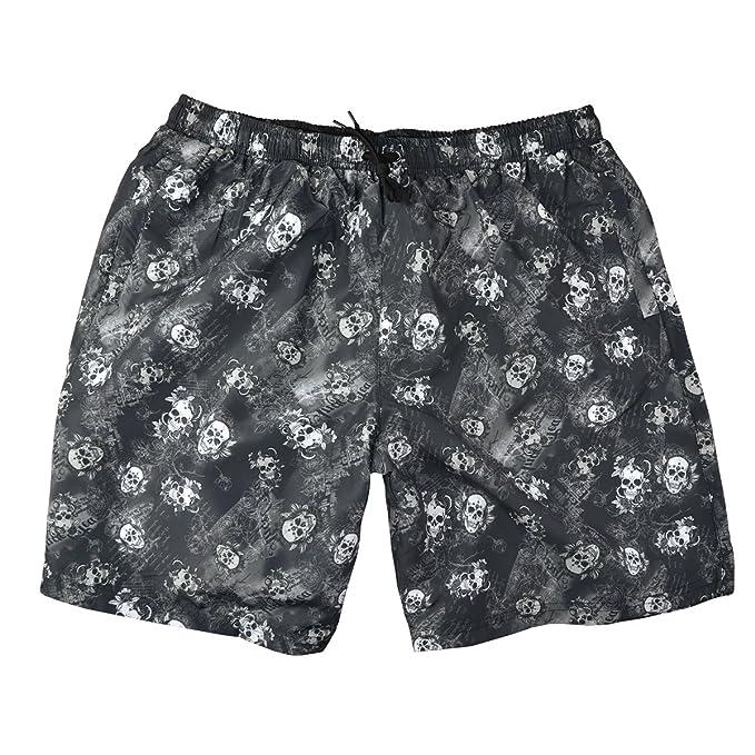 Abraxas Pantalones Cortos de Baño XXL Jim en Diseño de Cráneo y Rosa, 2xl-
