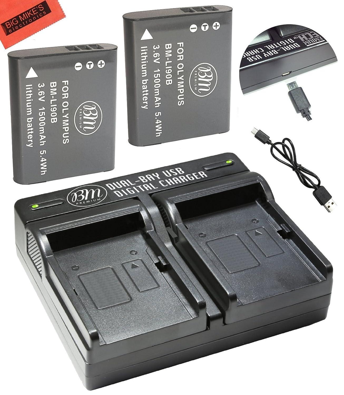 BM Premium Pack of 2 LI-90B, LI-92B Batteries and USB Dual Battery Charger for Olympus Tough TG-Tracker, Tough SH-1, SH-2, SP-100, SP-100 IHS, SP-100EE, Tough TG-1 iHS, Tough TG-2 iHS, Tough TG-3, Tough TG-4, SH-50 iHS, SH-60, XZ-2 iHS Digital Camera LI92