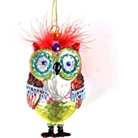 Owl - Painted Glass Hanging Decoration 12cm /