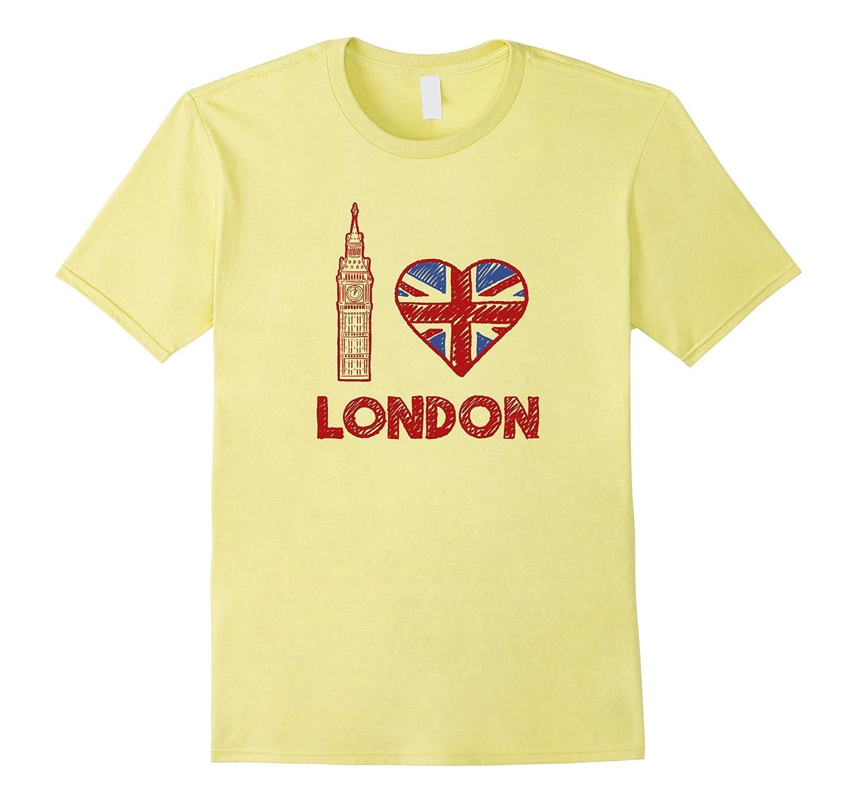 I Love Heart London Big Ben British UK Flag Graphic T Shirt-CD