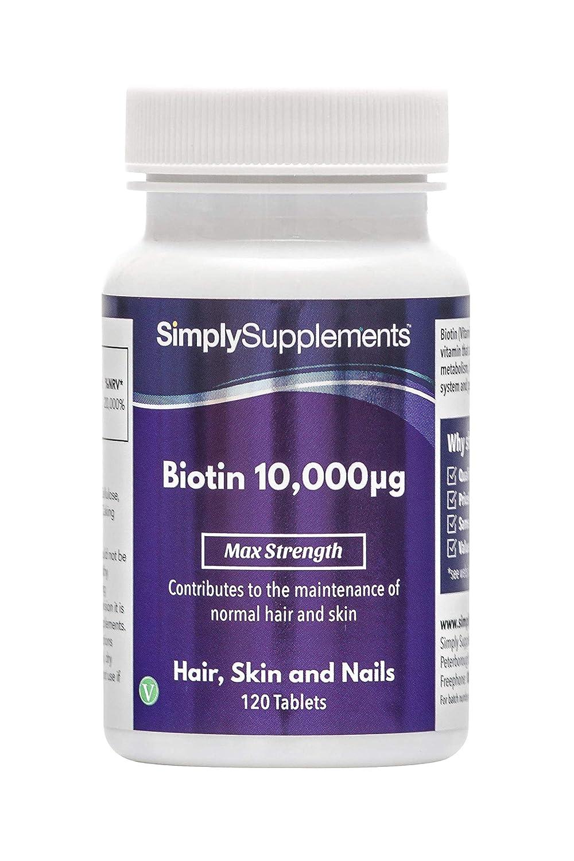 Biotina 10,000mcg - 120 comprimidos - 4 meses de suministro - Favorece la salud del pelo y de las uñas - SimplySupplements: Amazon.es: Salud y cuidado ...