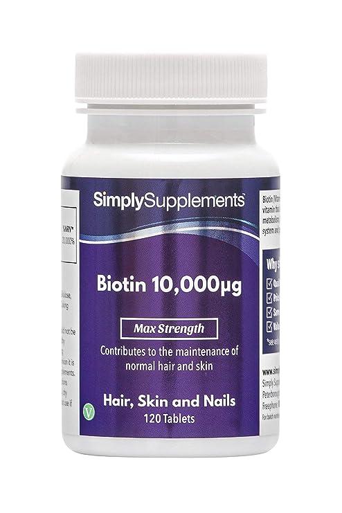 Biotina 10,000mcg - 120 comprimidos - 4 meses de suministro - Favorece la salud del