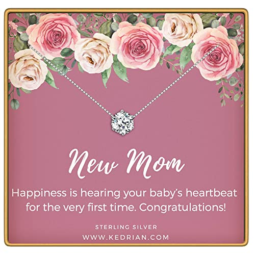 KEDRIAN New Mom Necklace, 925 Sterling Silver, New Mom Gifts, Pregnant Mom Gifts, Gifts for New Moms, Mom to Be Gifts, New Mom Gifts Ideas, Pendant Gifts for Expecting Mothers, New Mom Gift Jewelry