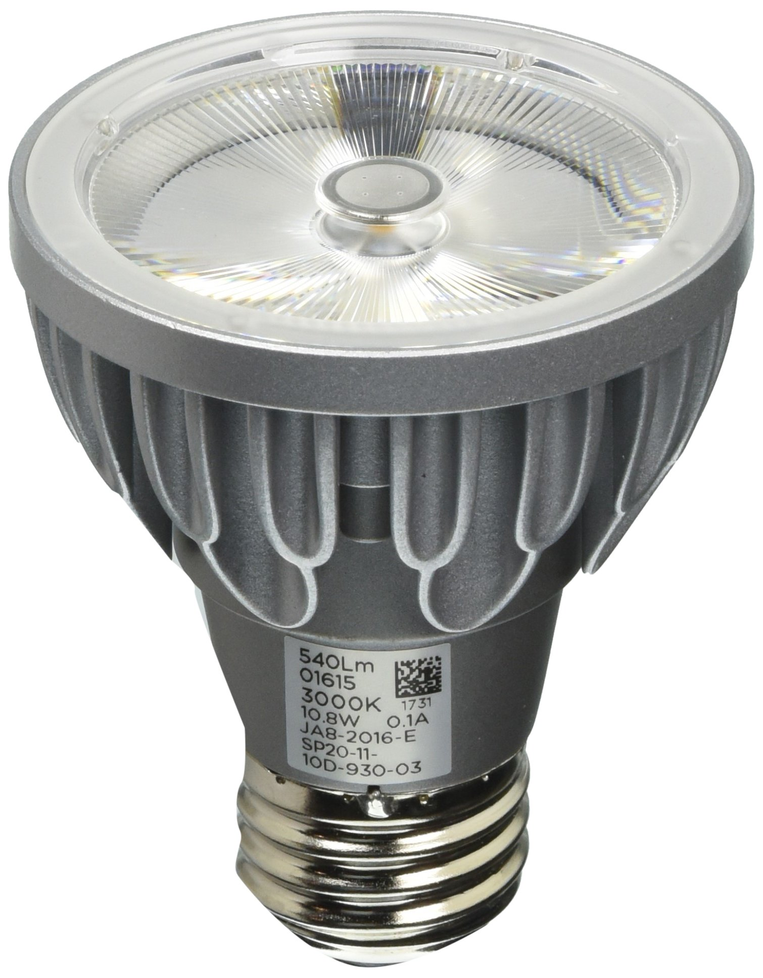 Bulbrite SP20-11-10D-930-03 SORAA 10.8W LED PAR20 3000K VIVID 10° Dimmable Light Bulb, Silver