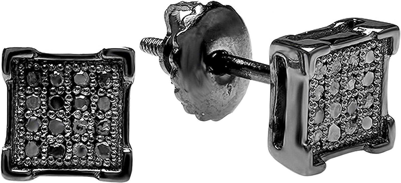 Dazzlingrock Collection 0.07 Carat (ctw) Round Black Diamond Mens Hip Hop Iced Stud Earrings