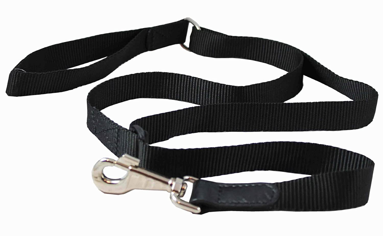 Adjustable Dog Leash 1  Wide Nylon 3ft-5ft Length with Leather Enforced Snap Large Black