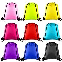 Keriber - Sac à dos/sac cabas avec cordon de serrage coloré, lot de 9- Sacs de sport de gym ou de transport de stockage, 9pièces