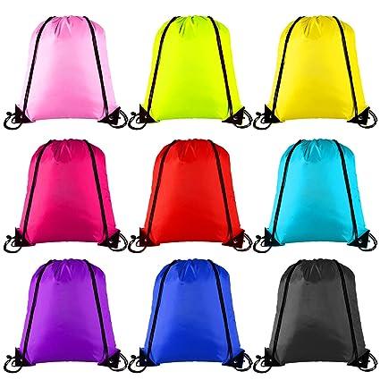 Keriber - Mochila con 9 colores y cordón ajustable, estilo bolsa de tela, para deporte, gimnasio y viajes, 9 unidades